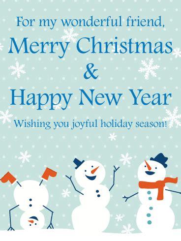 cheerful snowmen christmas card  friends birthday greeting cards  davia