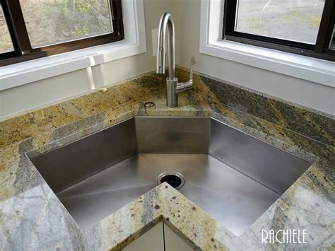 kitchen with corner sink corner kitchen sinks in copper and stainless steel that