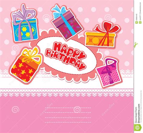 birthday card from baby template baby birthday card with gift boxes stock vector