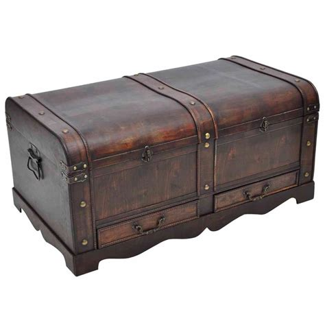 wooden trunk vidaxl co uk vintage large wooden treasure chest brown