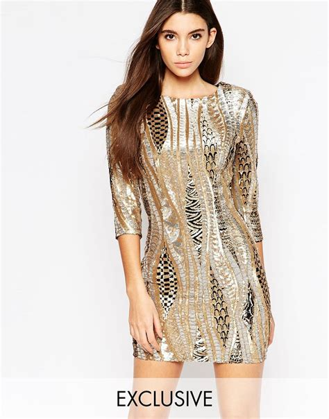 gold pattern mini dress tfnc london all over sequin mini dress with 3 4 sleeve in