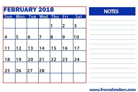 Calendar 2018 Notes February 2018 Printable Calendar Templates