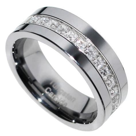 mm tungsten carbide princess stone cz men women wedding