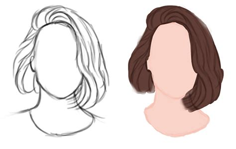 medium length hairstyle sketches an introduction to painting realistic hair in adobe photoshop