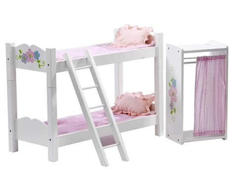 american girl loft bed floral design clothes armoire with doll bunk bed fits 18