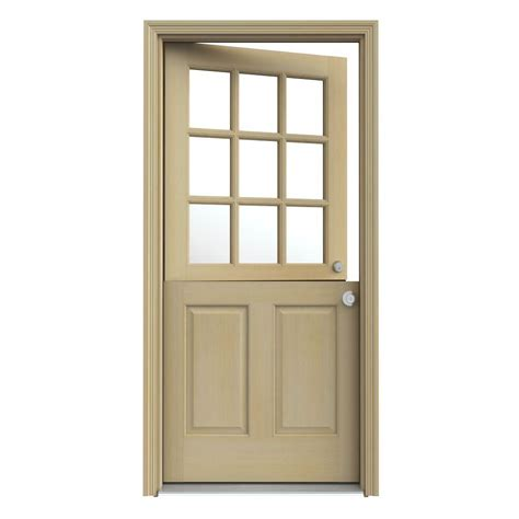 Jeld Wen 32 In X 80 In 9 Lite Unfinished Dutch Wood 9 Lite Exterior Door