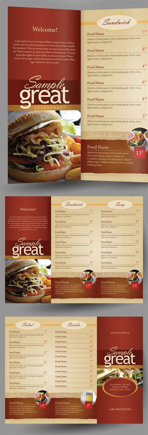 restaurant cafe take out menu template on behance