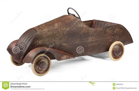 rusty car white background vintage pedal car toy on white royalty free stock image