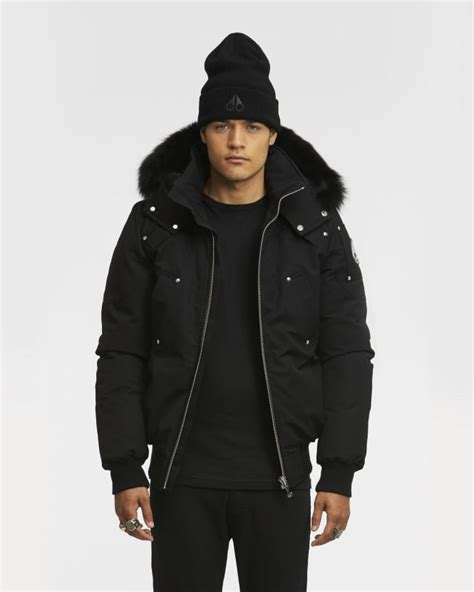 Jaket Bomber Fox moose knuckles mens ballastic bomber black fox fur