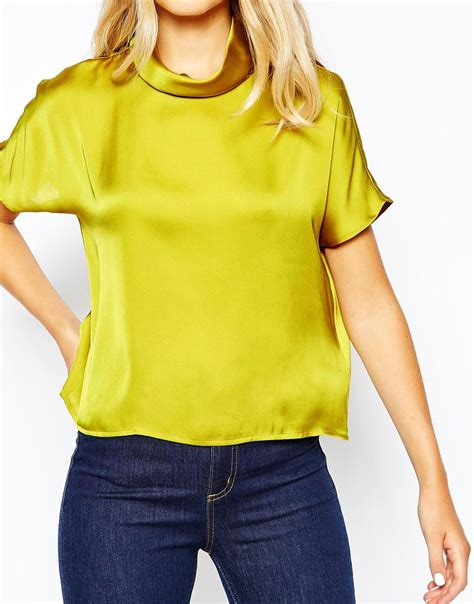 Blouse Premium 21 lyst monki high neck premium satin top in yellow
