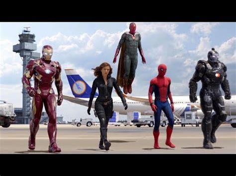 team iron man team cap airport battle scene captain