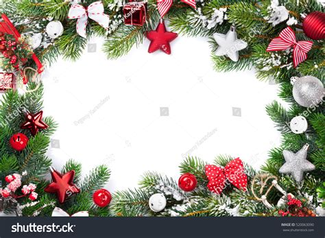 alternate christmas tree picture frame frame background baubles decor snow stock photo 520063090