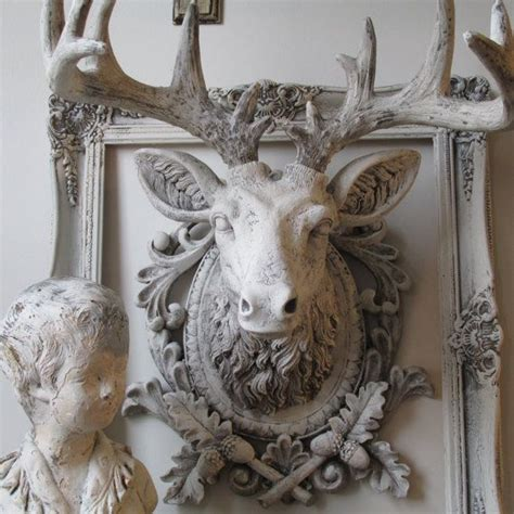 stag head home decor faux buck elk head wall mount french nordic ornate white
