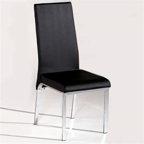 Dinette Chairs Contemporary Black Dining Chair In Leather And Chrome