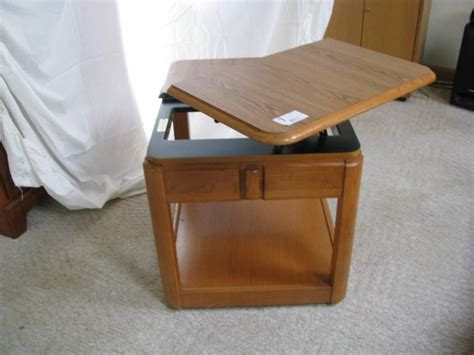 swivel top end table solid oak end table with swivel top on wheels