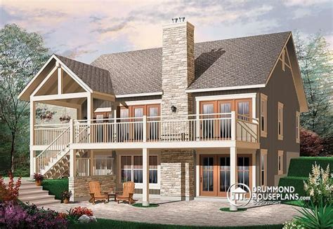 rustic house plans with walkout basement looking for a modern rustic chalet with cathedral ceiling fireplace in the living room 2