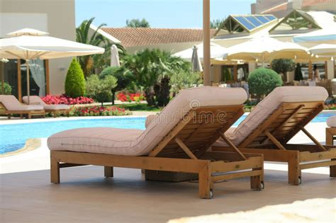 luxury deck chairs hotel pool wooden deck chairs stock image image of