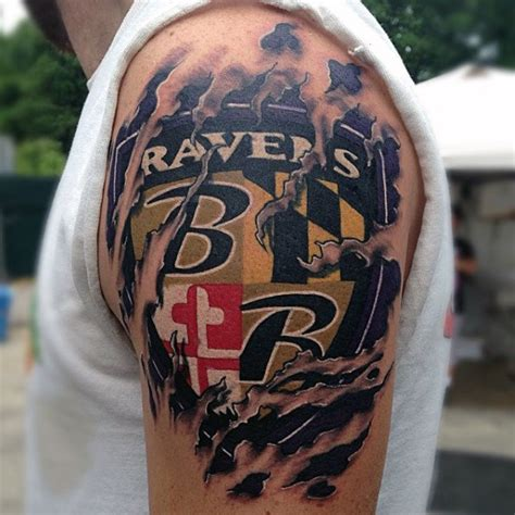 baltimore ravens tattoos 70 football tattoos for nfl ink design ideas