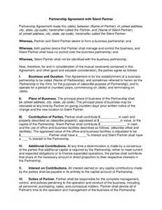 silent partner contract template simple partnership agreement template