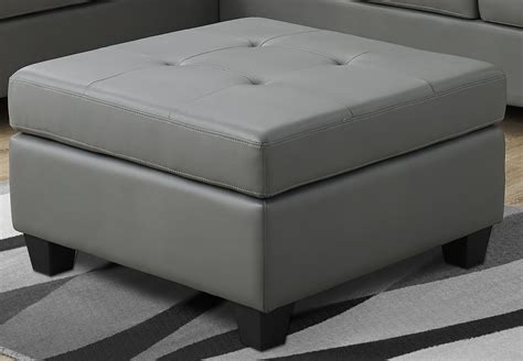 grey leather ottoman light gray bonded leather ottoman from monarch coleman