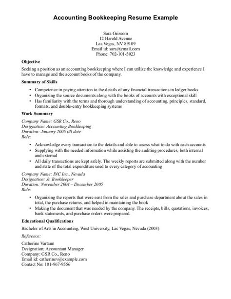 Resume Objective Exles List Objective Seeking Position As An Accounting Bookkeeping Resume With List Summary Of Skills