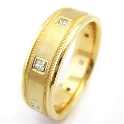 7.5mm 0.40ctw Men's Princess Cut Bezel Set Diamond Wedding Band m124