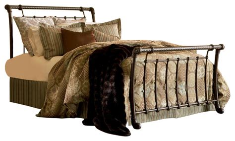 rope headboard legion metal sleigh headboard with twisted rope top rail