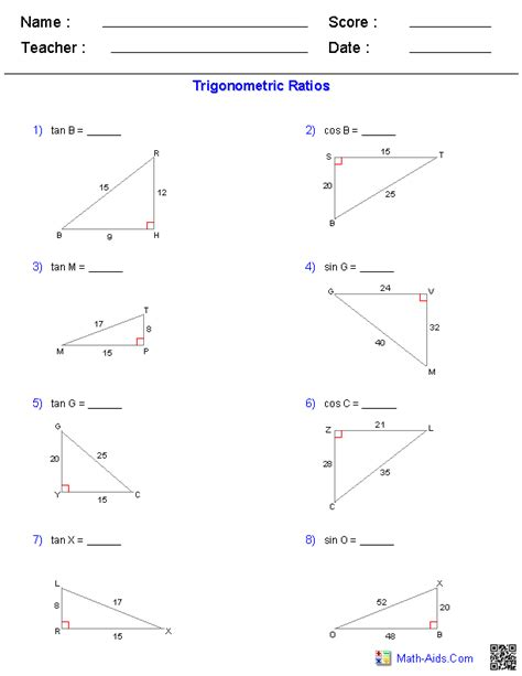 Trigonometric Ratios Worksheet Answers by Geometry Worksheets Trigonometry Worksheets