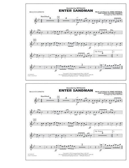 metallica xylophone download enter sandman bells xylophone sheet music by