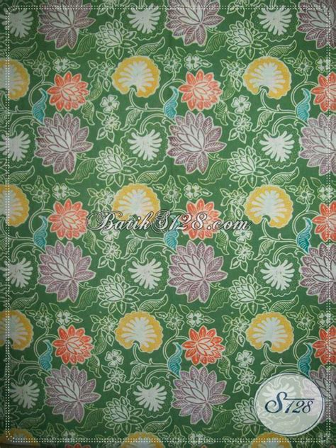 Kain Batik Cap Wonogiren Warna kain batik cap colet kain batik warna hijau motif floral asli dari toko kain batik murah di