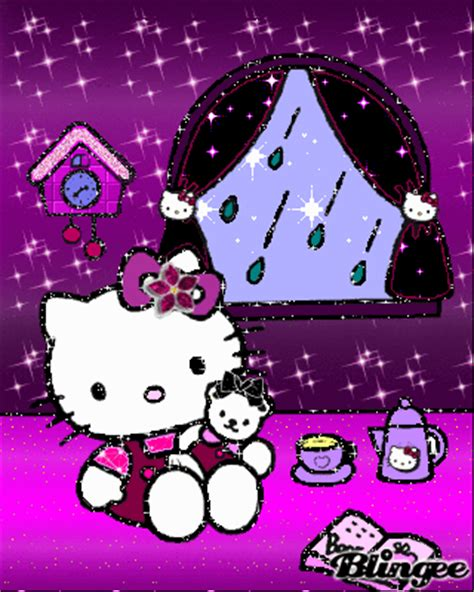 wallpaper hello kitty begerak hello kitty purple rain animated pictures for sharing