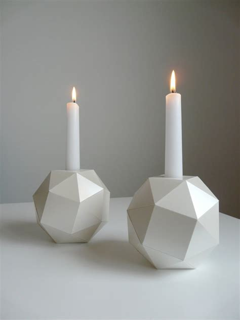 Origami Candle - polyhedron candlesticks of pearl origami set by