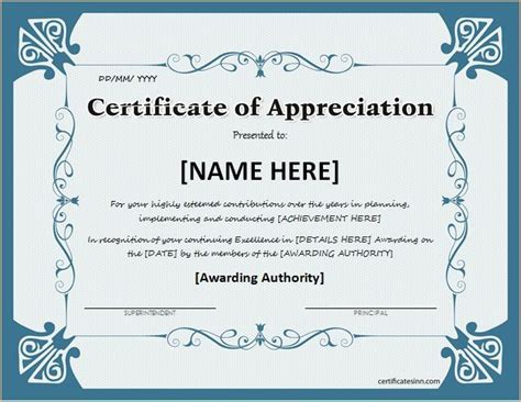 free certificate of appreciation templates certificate of appreciation for ms word at http