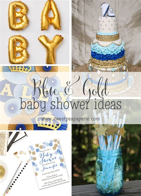 Blue And Gold Baby Shower by Inspirations Blue And Gold Baby Shower Sweet Pea Paperie