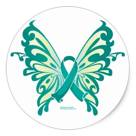 ovarian cancer ribbon butterfly sticker