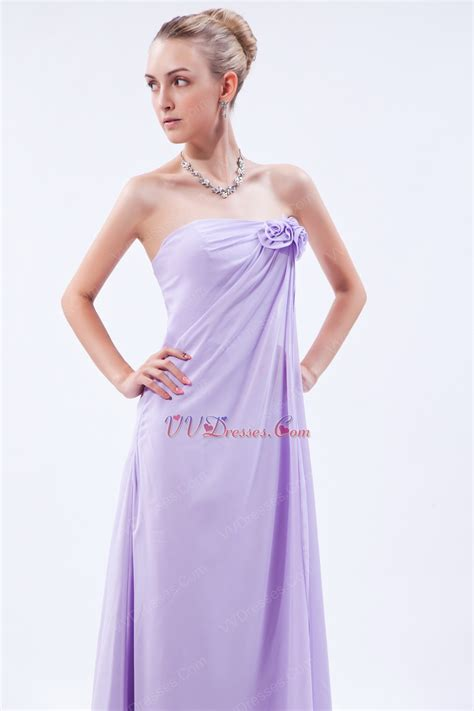 lilac color dress flowers decorate empire waist lilac chiffon prom