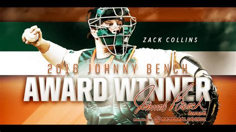johnny bench award zack collins wins johnny bench award as nation s top catcher