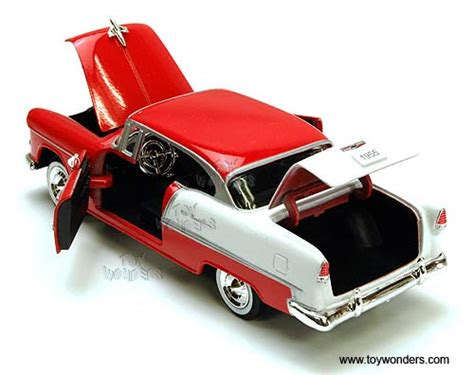 124 Chevy Bel Air 1955 Redwhite Motormax 1955 chevy bel air top by showcasts 1 24 scale