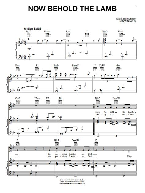 Printable Lyrics To Now Behold The Lamb | now behold the lamb sheet music direct