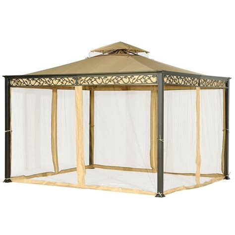 leaf pattern gazebo sunjoy ayla 10 ft x 12 ft beige steel soft top gazebo