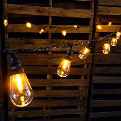 Edison Bulb Patio String Lights Wood Planter Box Rustic Rectangle 10 75in X 5in Brown Stain 6 Pk Lighting String Lights