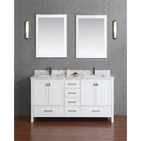 bathroom vanity solid wood buy vincent 60 quot solid wood double bathroom vanity in white