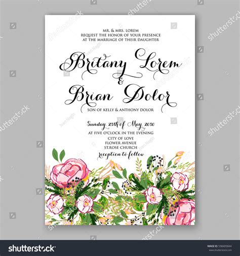 wedding invitation card suite with flower templates free wedding invitation card template pink stock vector