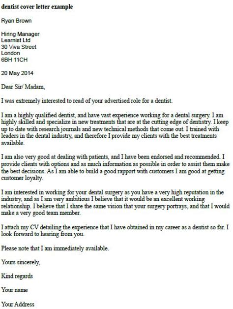 Letter For Work Experience In Dentistry Dentist Cover Letter Exle Forums Learnist Org