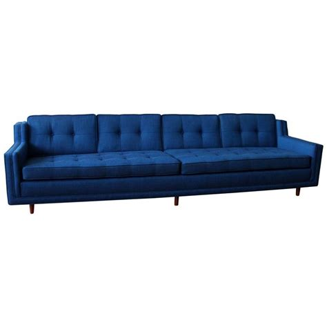 Modern Low Sofa Blue Mid Century Modern Low Slung Nemschoff Sofa At 1stdibs