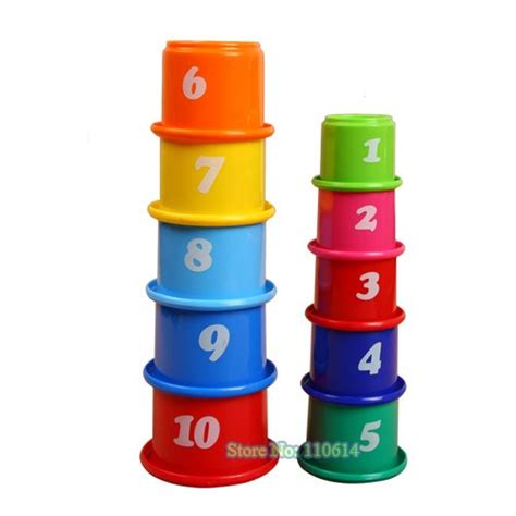 Promo Hexagon Stacking Cup free shipping plastic baby educational stacking and nesting cups in blocks from toys