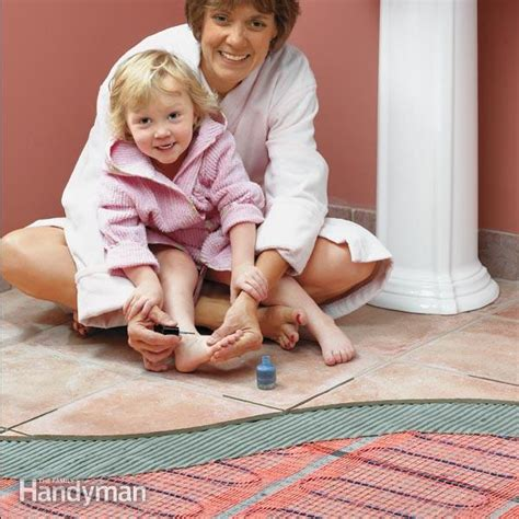 how to heat a cold bathroom how to install in floor heat the family handyman