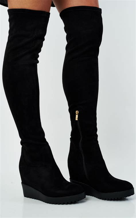 The Knee Wedge Boots jody knee high black suede wedge heel boots silkfred