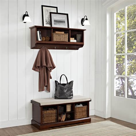 entryway bench and shelf brennan mahogany two piece entryway bench and shelf set crosley furniture storage