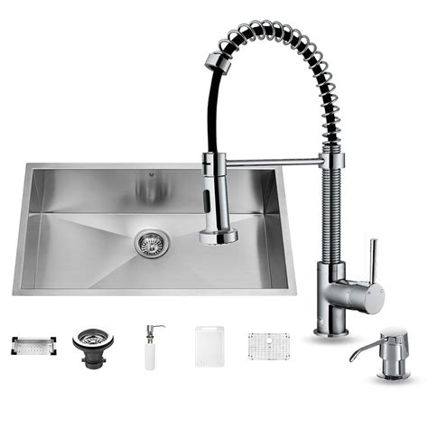 undermount kitchen sink with faucet holes vigo all in one undermount stainless steel 32 in 0 hole single bowl kitchen sink and faucet set